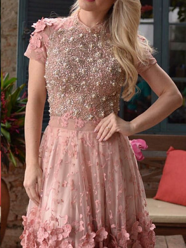 Chic Homecoming Dresses Aline Beading Short Prom Dress Lace Party Dress JK606|Annapromdress