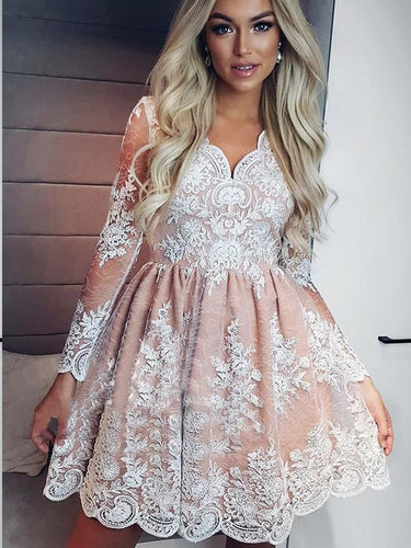 Long Sleeve Homecoming Dresses Lace A-line Short Prom Dress Party Dress JK607|Annapromdress