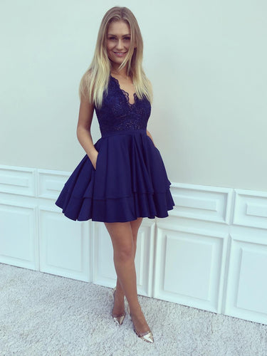 Lace Homecoming Dresses V-neck Dark Navy Short Prom Dress A Line Party Dress JK611|Annapromdress