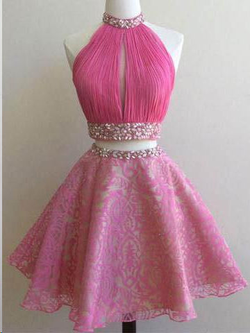 Two Piece Homecoming Dresses A Line Hot Pink Short Prom Dress Party Dress JK618|Annapromdress