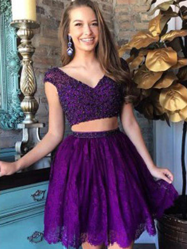Two Piece Homecoming Dresses V-neck Lace Regency Short Prom Dress Party Dress JK621|Annapromdress