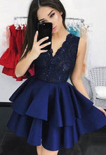 Beautiful Dark Navy Homecoming Dresses V-neck Short Prom Dress Party Dress JK623|Annapromdress