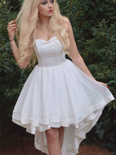 High Low Homecoming Dresses A-line Cheap Ivory Short Prom Dress Sexy Party Dress JK629|Annapromdress