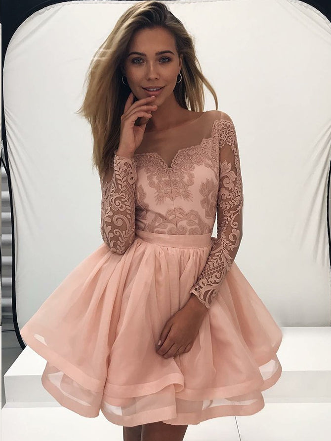Long Sleeve Homecoming Dresses A line Lace Short Prom Dress Sexy Party Dress JK630|Annapromdress
