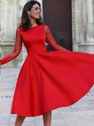 Long Sleeve Homecoming Dresses Red Open Back Short Prom Dress Party Dress JK631|Annapromdress