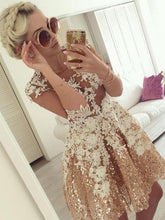 Gold Sequins Long Sleeve Homecoming Dresses Lace Short Prom Dress Party Dress JK632|Annapromdress