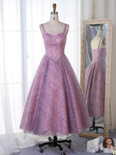 Lace Homecoming Dresses Straps Lilac Tea-length Short Prom Dress Party Dress JK633|Annapromdress
