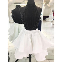 Sparkly Two Piece Homecoming Dresses White and Black Short Prom Dress Party Dress JK634|Annapromdress