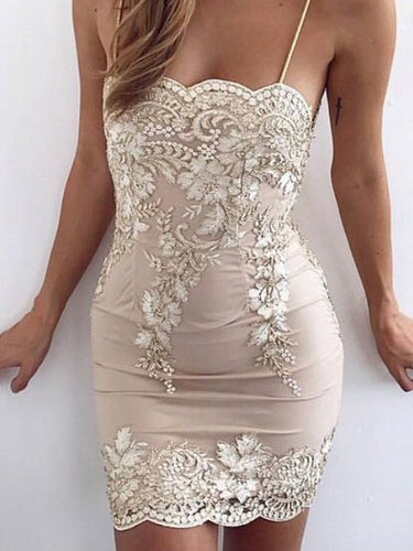 Sexy Homecoming Dresses Sheath Spaghetti Straps Short Prom Dress Chic Party Dress JK638|Annapromdress