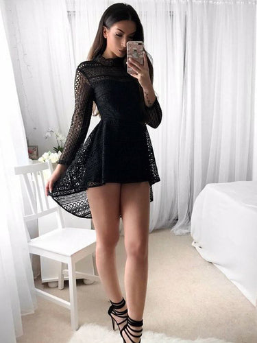 Little Black Dress Long Sleeve Homecoming Dresses Short Prom Dress Party Dress JK639|Annapromdress