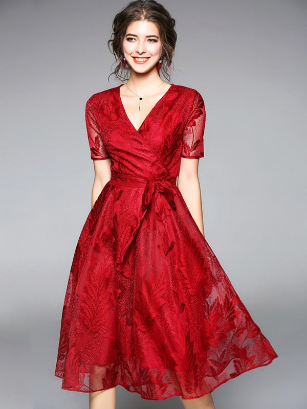Lace Homecoming Dresses Burgundy Short Sleeve Short Prom Dress Party Dress JK648|Annapromdress