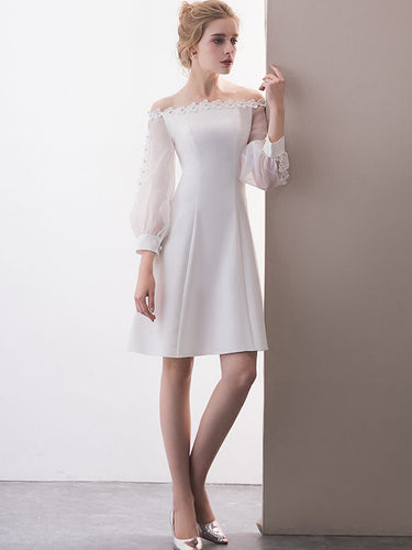 Long Sleeve Cute Homecoming Dresses A-line Short Prom Dress Party Dress JK650|Annapromdress