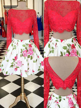 Red Two Piece Homecoming Dresses Long Sleeve Short Prom Dress Party Dress JK653|Annapromdress