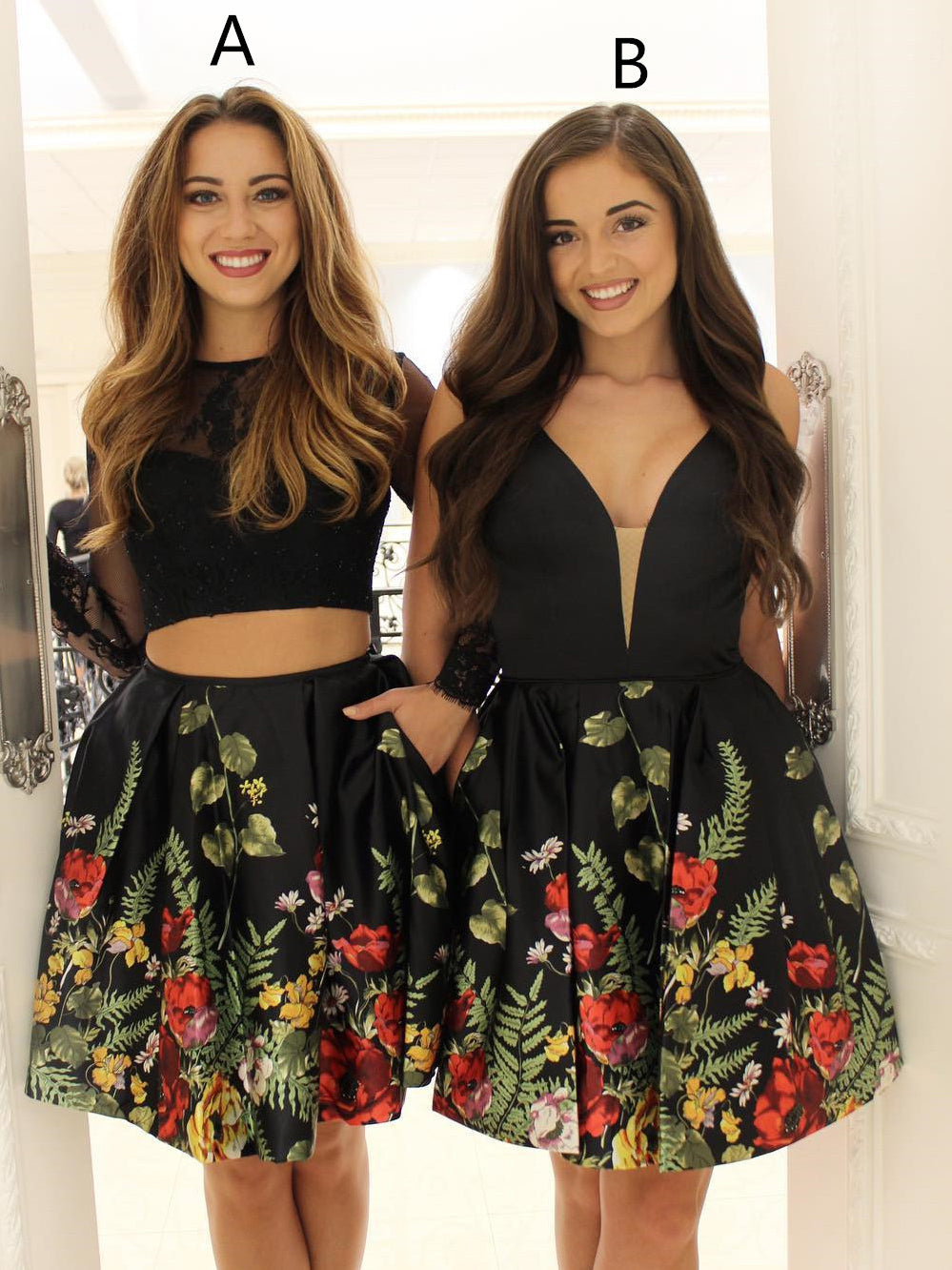Two Piece Homecoming Dresses Little Black Dress Short Prom Dress Party Dress JK654|Annapromdress