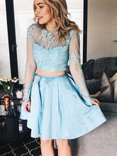 Two Piece Homecoming Dresses Aline Long Sleeve Short Prom Dress Party Dress JK658|Annapromdress