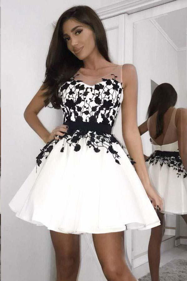 Black And White Homecoming Dresses Chic Short Prom Dress Party Dress