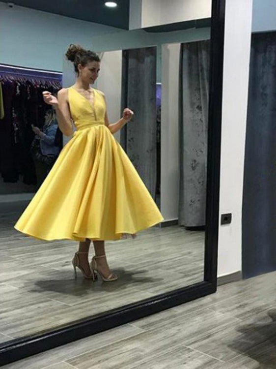 Open Back Homecoming Dresses Yellow Tea-length Short Prom Dress Party Dress JK665|Annapromdress