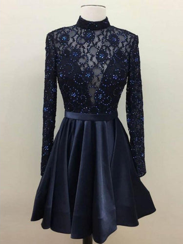 Long Sleeve Homecoming Dresses Lace Rhinestone Short Prom Dress Party Dress JK671|Annapromdress