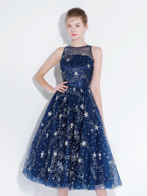 Chic Homecoming Dresses Stars A Line Lace Sparkly Short Prom Dress