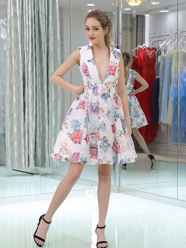 Cute Homecoming Dresses A-line Floral Print Short Prom Dress Party Dress JK676|Annapromdress