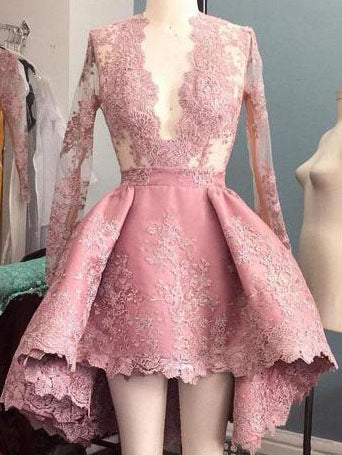 Long Sleeve High Low Homecoming Dresses Lace Short Prom Dress Party Dress JK678|Annapromdress