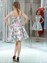Cute Homecoming Dresses Flroal Print A Line Short Prom Dress Sexy Party Dress JK681|Annapromdress