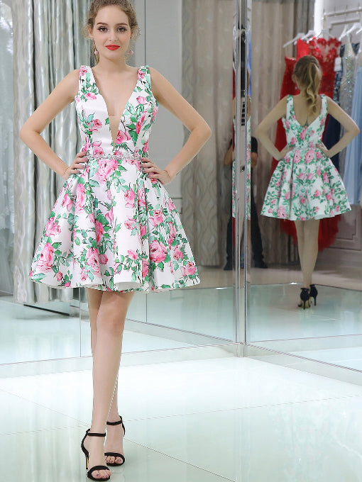 73cacc6a66c Cute Homecoming Dresses Flroal Print A Line Short Prom Dress Sexy Party  Dress JK681