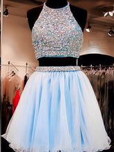 Two Piece Homecoming Dresses Rhinestone A Line Short Prom Dress Party Dress JK683|Annapromdress