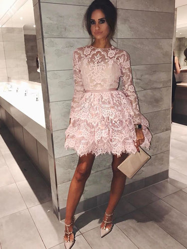 Long Sleeve Homecoming Dresses Aline Lace Chic Short Prom Dress Party Dress JK694|Annapromdress