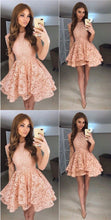 Lace Homecoming Dresses A Line Beautiful Short Prom Dress Party Dress JK695|Annapromdress
