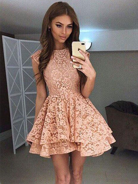 cb8c5af8fbf Lace Homecoming Dresses A Line Beautiful Short Prom Dress Party Dress  JK695