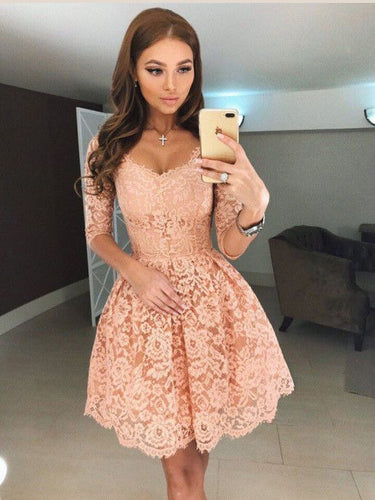 Half Sleeve Homecoming Dresses Aline Lace Short Prom Dress Party Dress JK696|Annapromdress