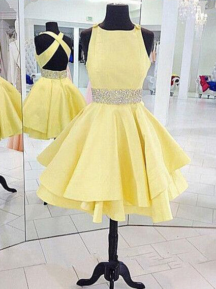 71c206fe15a Cheap Yellow Homecoming Dresses Criss-Cross Straps Short Prom Dress Party  Dress JK698