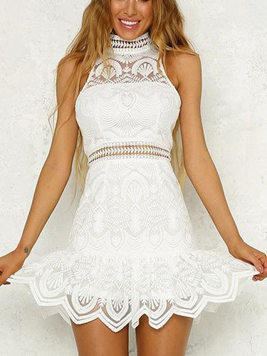 Lace Homecoming Dresses High Neck Sheath Short Prom Dress Sexy Party Dress JK699|Annapromdress