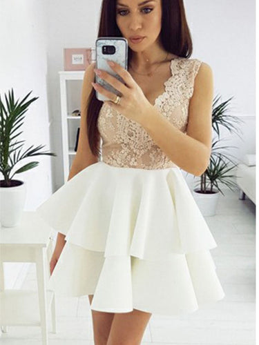 Beautiful Homecoming Dresses V-neck Lace Short Prom Dress Party Dress JK702|Annapromdress