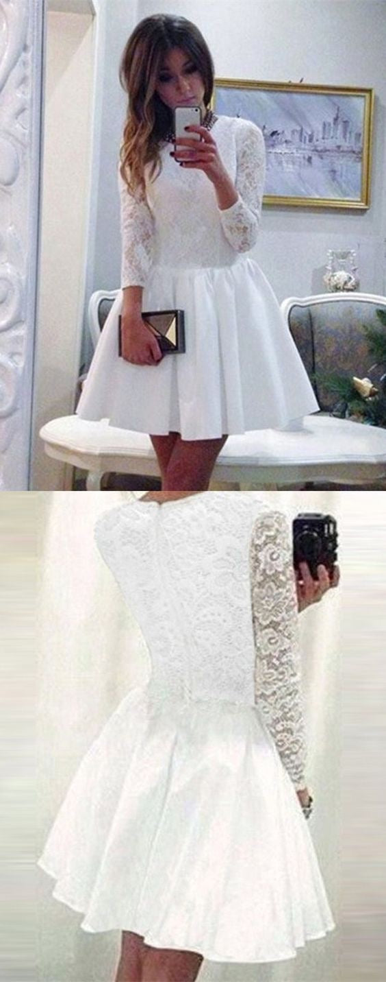 ce48656ebcc23 ... Long Sleeve Homecoming Dresses White Lace A Line Short Prom Dress Party  Dress JK704|Annapromdress ...