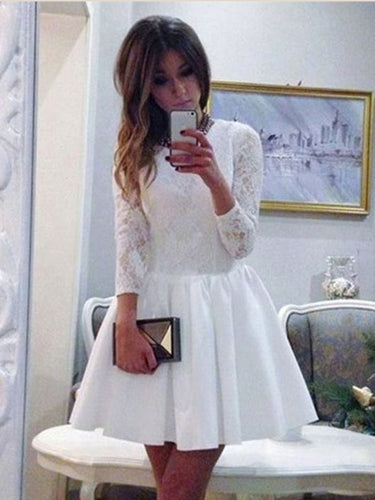 Long Sleeve Homecoming Dresses White Lace A Line Short Prom Dress Party Dress JK704|Annapromdress