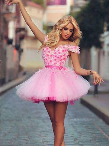 Beautiful Homecoming Dresses Hand-Made Flower Pink Short Prom Dress Party Dress JK705|Annapromdress