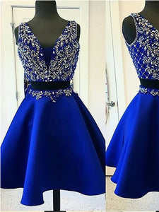 Two Piece Homecoming Dresses Royal Blue Beading Short Prom Dress Party Dress JK707|Annapromdress