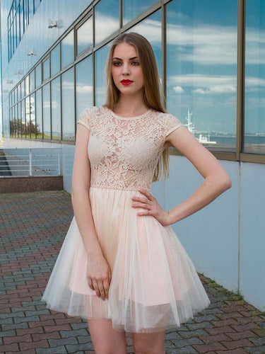 Simple Homecoming Dresses A-line Lace Cheap Short Prom Dress Chic Party Dress JK708|Annapromdress