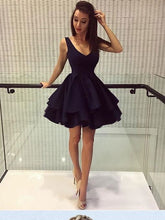 Simple Cheap Homecoming Dresses V-neck Little Black Dress Short Prom Dress Party Dress JK709|Annapromdress