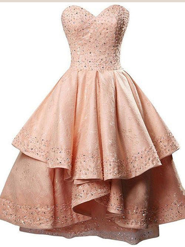 High Low Homecoming Dresses Lace Sweetheart Short Prom Dress Chic Party Dress JK710|Annapromdress