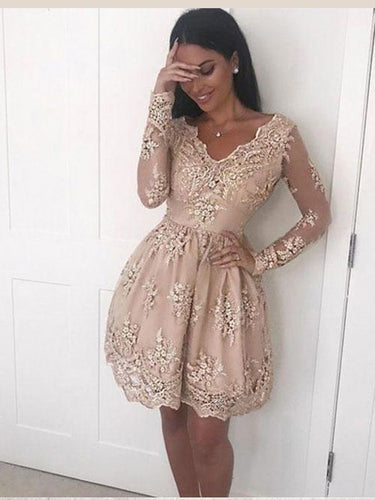 Long Sleeve Homecoming Dresses V neck A line Lace Short Prom Dress Party Dress JK711|Annapromdress