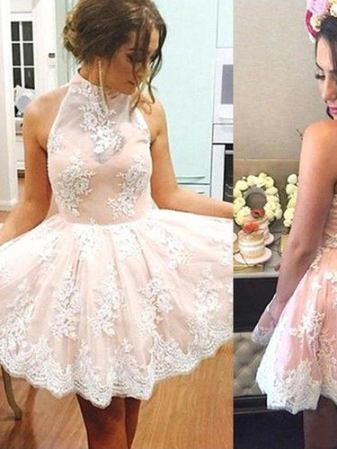 Lace Homecoming Dresses High Neck A line Chic Short Prom Dress Party Dress JK713|Annapromdress