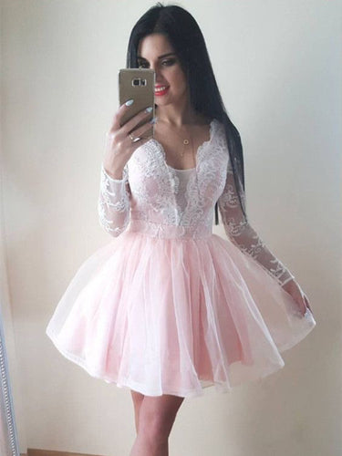 Long Sleeve Homecoming Dresses V neck A line Pink Short Prom Dress Party Dress JK715|Annapromdress