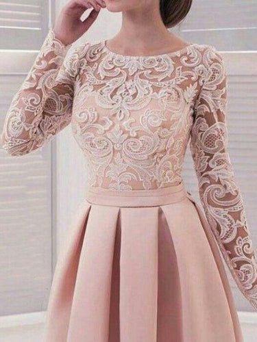 Long Sleeve Homecoming Dresses Lace A Line Simple Short Prom Dress Party Dress JK718|Annapromdress