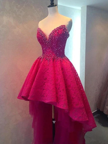 Burgundy High Low Homecoming Dresses Lace Sparkly Short Prom Dress Party Dress JK719|Annapromdress