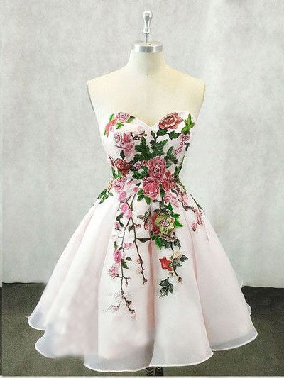 Beautiful Homecoming Dresses A line Embroidery Short Prom Dress Party Dress JK722|Annapromdress