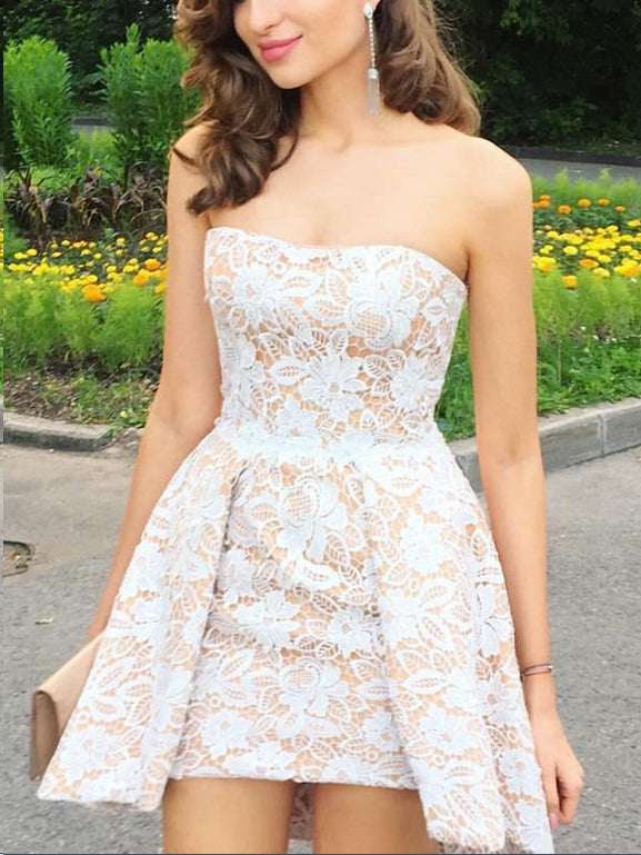 Lace Chic Homecoming Dresses Sheath Short Prom Dress Sexy Party Dress JK723|Annapromdress