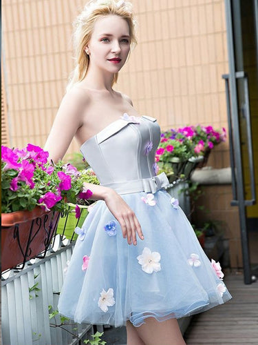 Cute Homecoming Dresses Strapless A Line Short Prom Dress Sexy Party Dress JK724|Annapromdress